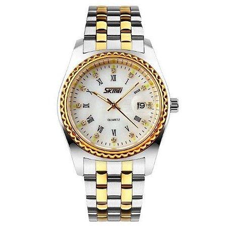 Relógio Masculino Skmei Analógico 9098 - Prata, Dourado e Branco