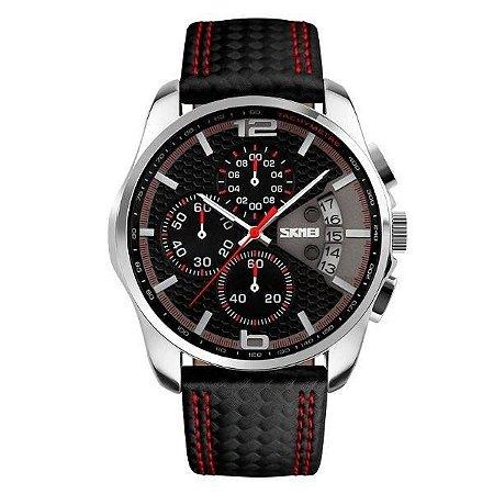 Relógio Masculino Skmei Analógico 9106 - Preto e Vermelho