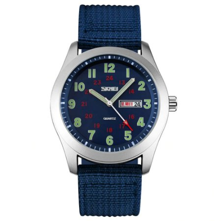 Relógio Masculino Skmei Analógico 9112 - Azul e Prata