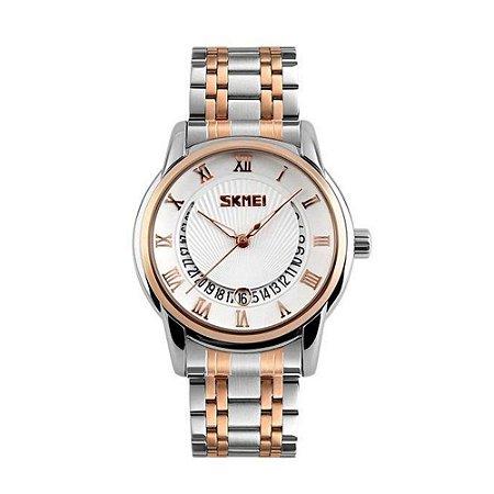 Relógio Masculino Skmei Analógico 9122 - Prata, Dourado e Branco