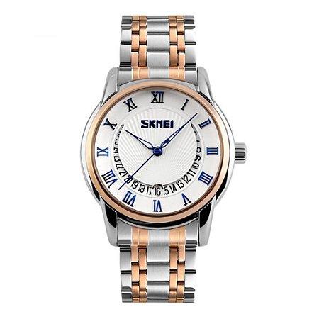 Relógio Masculino Skmei Analógico 9122 - Prata, Dourado, Branco e Azul