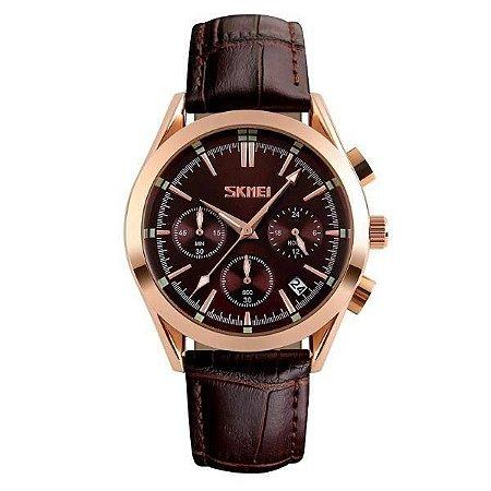 Relógio Masculino Skmei Analógico 9127 - Marrom, Rosê e Preto