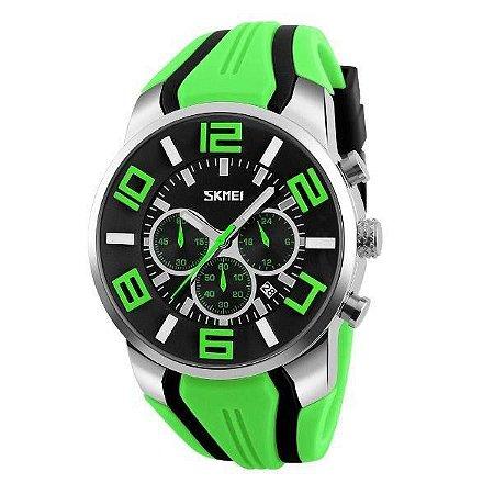 Relógio Masculino Skmei Analógico 9128 - Verde, Preto e Prata
