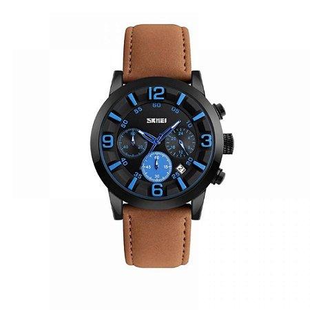 Relógio Masculino Skmei Analógico 9147 - Marrom, Preto e Azul