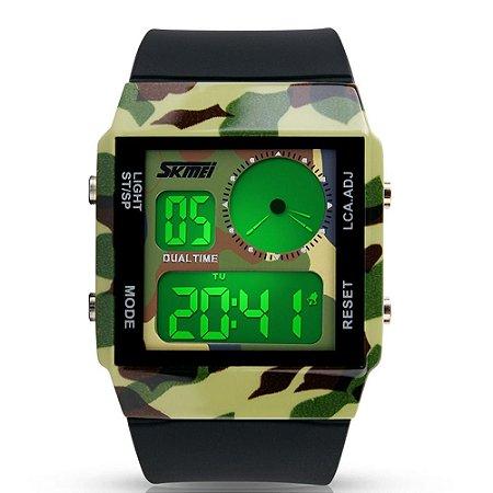 Relógio Masculino Skmei Digital 0841 - Preto e Verde Camuflado