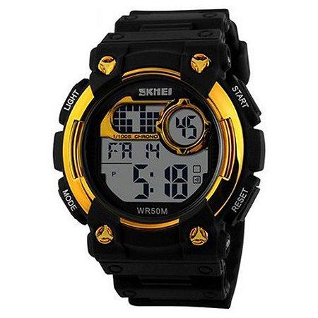 Relógio Masculino Skmei Digital 1054 - Preto e Dourado-