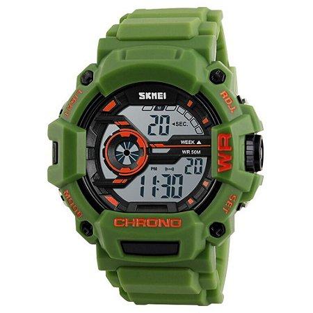 Relógio Masculino Skmei Digital 1233 - Verde e Laranja