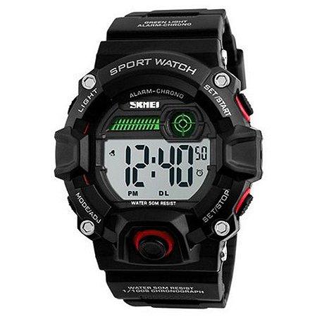 Relógio Masculino Skmei Digital 1242 - Preto e Vermelho-