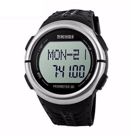 Relógio Pedômetro Masculino Skmei Digital 1058 - Preto, Prata e Preto