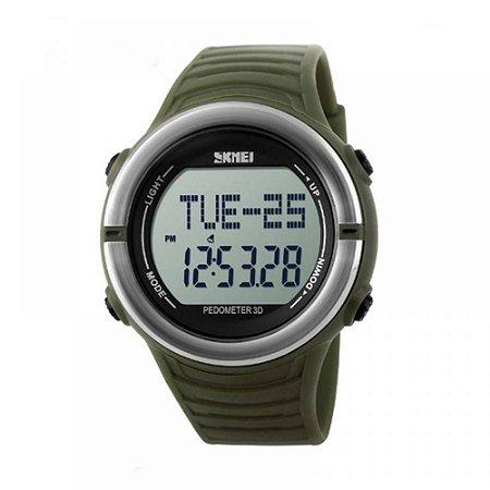 Relógio Pedômetro Masculino Skmei Digital 1111 - Verde e Prata