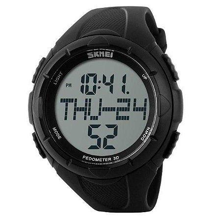 Relógio Pedômetro Masculino Skmei Digital 1122 - Preto