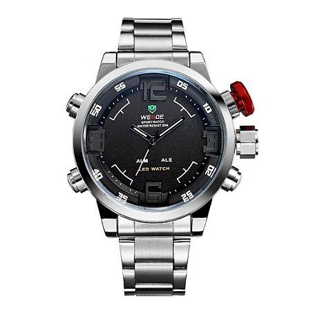 Relógio Masculino Weide AnaDigi Casual WH-2309 Prata e Vermelho