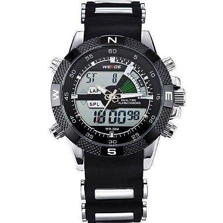 Relógio Masculino Weide AnaDigi Esporte WH-1104 - Preto e Prata