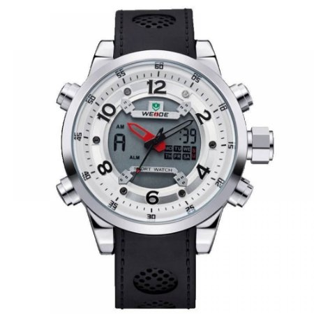 Relógio Masculino Weide AnaDigi Esporte WH-3315 - Preto, Prata e Branco