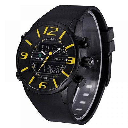 Relógio Masculino Weide AnaDigi Esporte WH-3402 - Preto e Amarelo