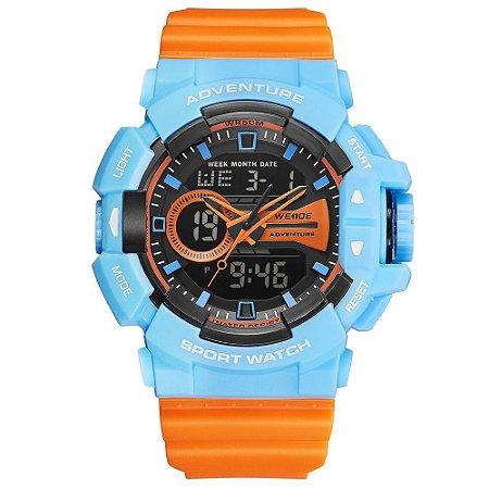 Relógio Masculino Weide AnaDigi Wa3J8002 - Azul e Laranja