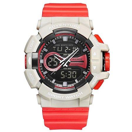 Relógio Masculino Weide AnaDigi WA3J8002 - Vermelho e Branco Gelo