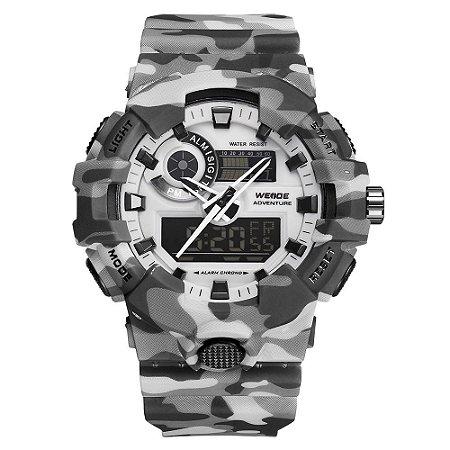Relógio Masculino Weide AnaDigi WA3J8007 - Cinza Camuflado