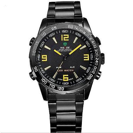Relógio Masculino Weide AnaDigi WH-1009 - Preto e Amarelo