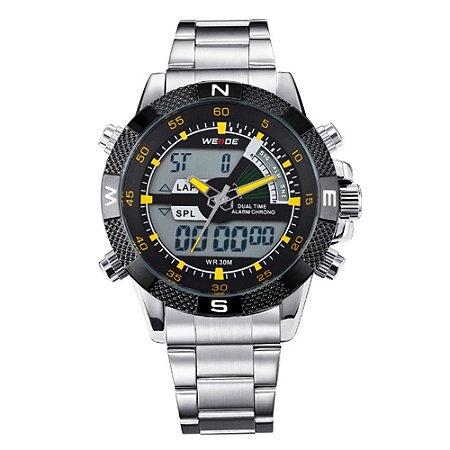 Relógio Masculino Weide AnaDigi WH-1104 - Prata e Amarelo