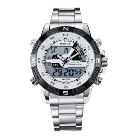 Relógio Masculino Weide AnaDigi WH-1104 - Prata e Branco