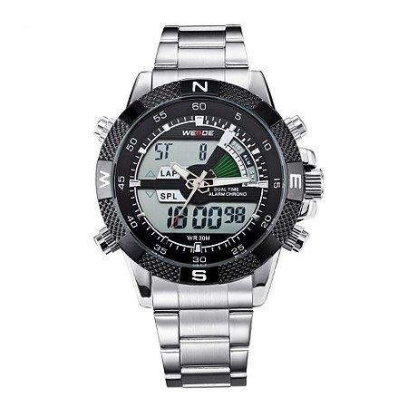 Relógio Masculino Weide AnaDigi WH-1104 - Prata e Preto