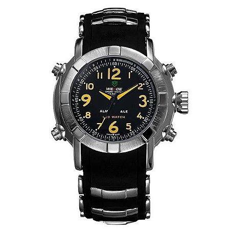 Relógio Masculino Weide AnaDigi WH-1106 - Preto, Prata e Amarelo