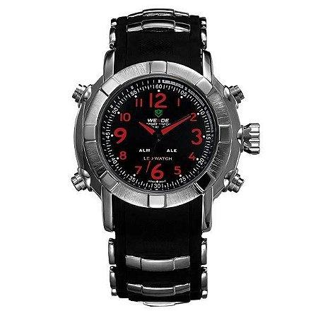 Relógio Masculino Weide AnaDigi WH-1106 - Preto, Prata e Vermelho
