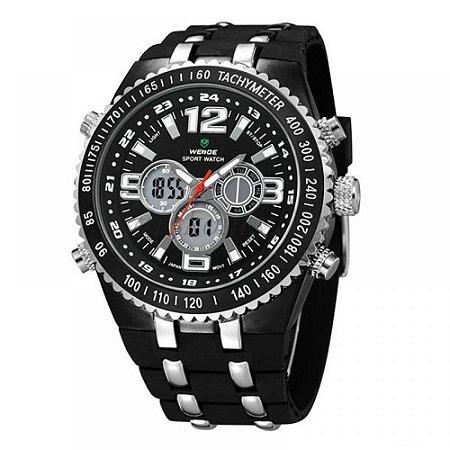 Relógio Masculino Weide AnaDigi WH-1107 - Preto, Prata e Branco