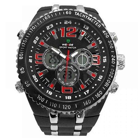 Relógio Masculino Weide AnaDigi WH-1107 - Preto, Prata e Vermelho
