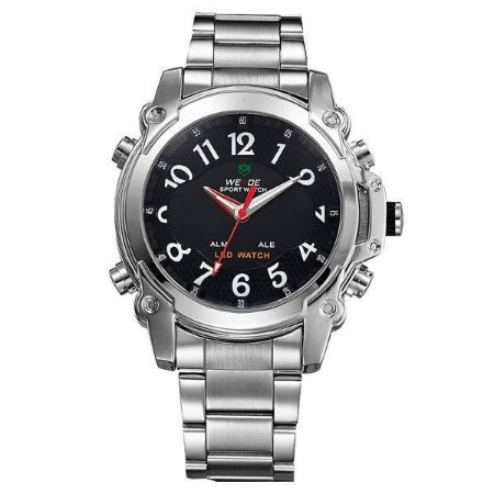 Relógio Masculino Weide AnaDigi WH-2302 - Prata e Preto
