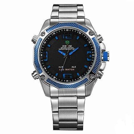 Relógio Masculino Weide AnaDigi WH-2306 - Prata e Azul-