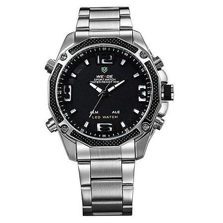 Relógio Masculino Weide AnaDigi WH-2306 - Prata e Preto-