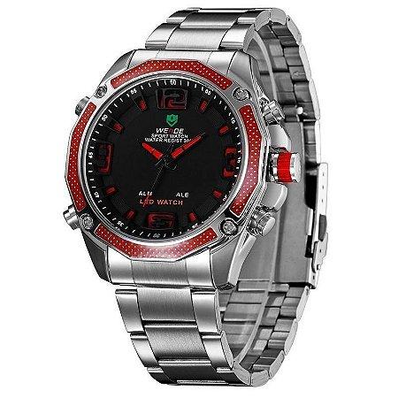 Relógio Masculino Weide AnaDigi WH-2306 - Prata e Vermelho-