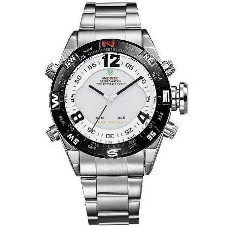 Relógio Masculino Weide AnaDigi WH-2310 - Prata e Branco