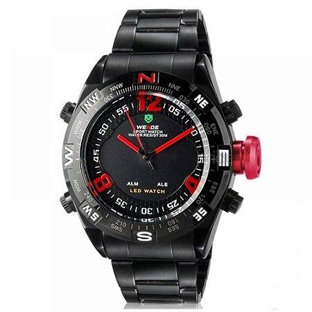 Relógio Masculino Weide AnaDigi WH-2310 - Preto e Vermelho