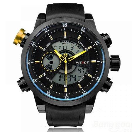 Relógio Masculino Weide AnaDigi WH-3401 - Preto, Azul e Amarelo