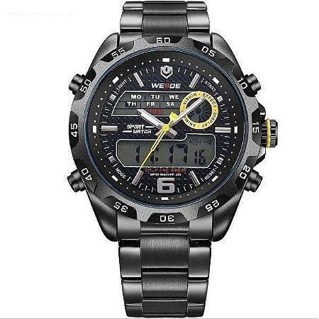 Relógio Masculino Weide AnaDigi WH-3403 - Preto e Amarelo