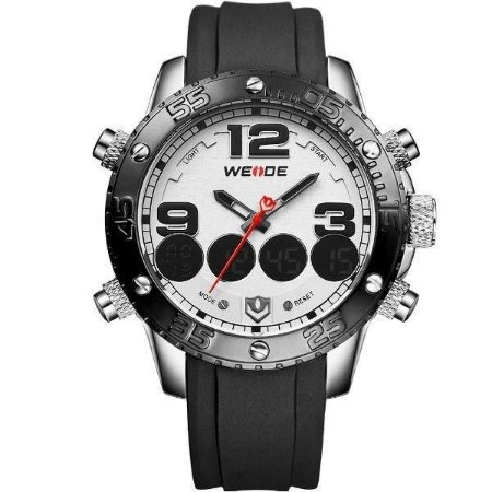 Relógio Masculino Weide AnaDigi WH-3405 - Preto, Prata e Branco