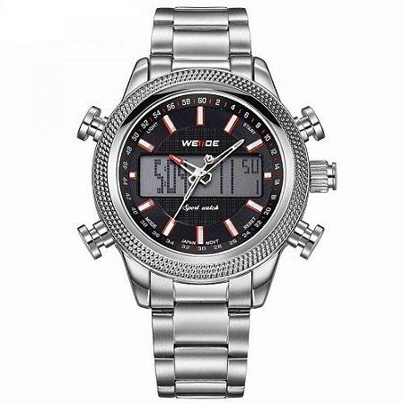 Relógio Masculino Weide AnaDigi WH-3406 - Prata e Preto