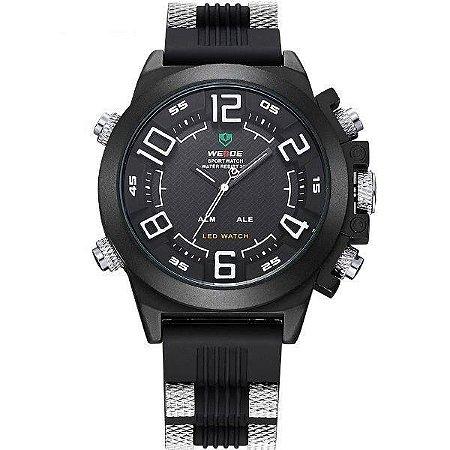 Relógio Masculino Weide AnaDigi WH-5202 - Preto, Prata e Branco