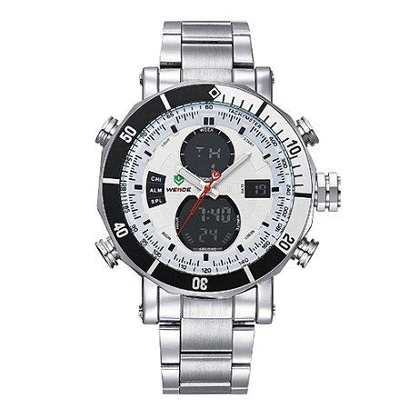 Relógio Masculino Weide AnaDigi WH-5203 - Prata e Branco