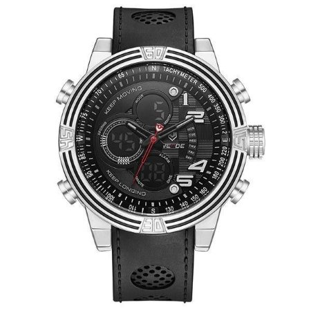 Relógio Masculino Weide AnaDigi WH-5209 - Preto e Prata