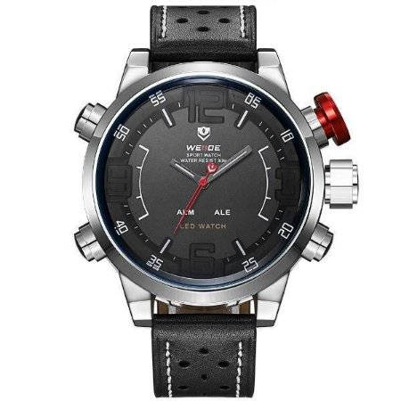 Relógio Masculino Weide AnaDigi WH-5210 - Preto e Prata