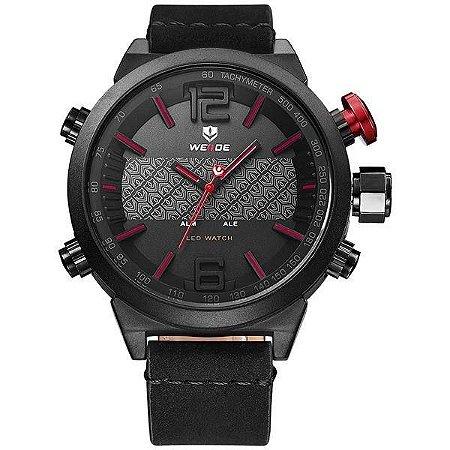 Relógio Masculino Weide AnaDigi WH-6101 - Preto e Vermelho