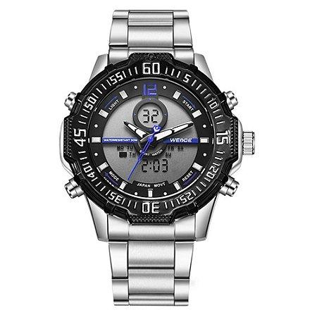 Relógio Masculino Weide AnaDigi WH-6105 - Prata e Azul