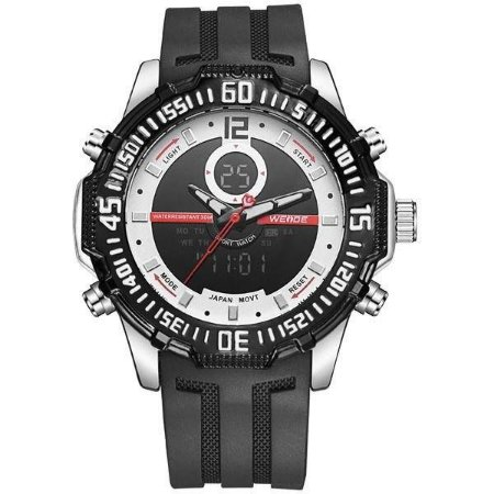 Relógio Masculino Weide AnaDigi WH-6105 - Preto, Prata e Vermelho