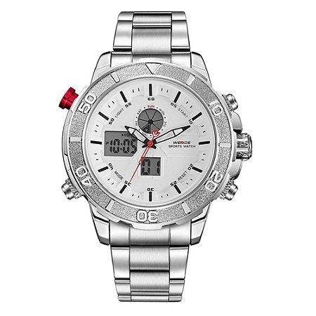 Relógio Masculino Weide AnaDigi WH-6108 - Prata e Branco