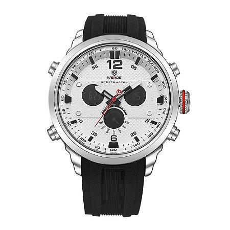 Relógio Masculino Weide AnaDigi WH-6303 - Preto, Prata e Branco