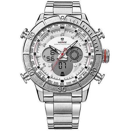Relógio Masculino Weide AnaDigi WH-6308 - Prata e Branco